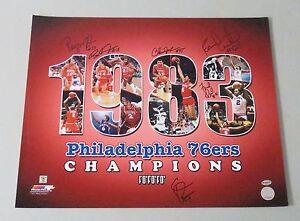 010526 1983-84 NBA Champs 76ers Multi Signed 16x20 Photo 5 AUTO 's LEAF COA