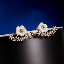 Fashion Korean Style Women Lady Elegant 1Pair Crystal Flower Ear Stud Earrings