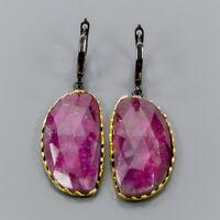 Ruby Earrings Silver 925 Sterling Big gem   /E44029