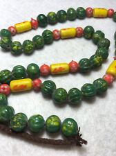 """27""""Old Vintage Mixed Color/Shape Antique Art Glass Trade Bead Strand"""