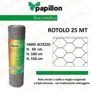 25 MT ROTOLO RETE METALLICA ZINCATA TRIPLA TORSIONE RECINZIONE ANIMALI POLLI