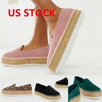Womens Ladies Platform Comfy Shoes Espadrilles Sandals Slip-on Casual Loafers US