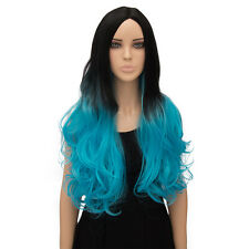 Black and Blue Long Curly Wig Lolita Style Heat resistant fiber For Cosplay