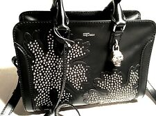 Alexander McQueen bag black leather tote skull
