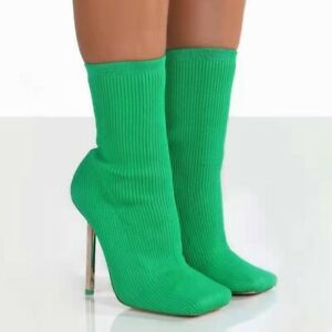 New Ladies Sock Bootie Stiletto Heel Pumps Square Toe Stretch Knit Ankle Booties