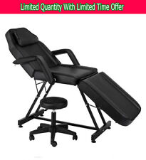 """72"""" Portable Massage Table Chair Tattoo Parlor Spa Salon Facial Beauty Bed Black"""