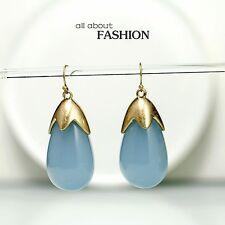 Boucles d`Oreilles Doré Gros Goutte Bleu Clair Retro Class B15