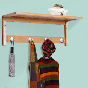 HOMCOM Hallway Wall Mounted Bamboo Shelf Clothes Rack Hanging Coat Hooks Storage