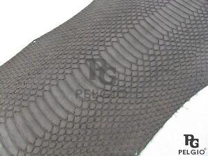 PELGIO Real Genuine Masked Water Snake Belly Skin Leather Hide Pelt Matte Brown