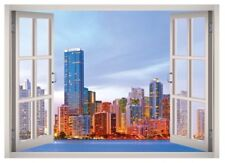 New York City Skyline Window 3D Wall Decal Art Mural Home Decor Canvas Vinyl W59