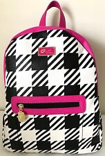 Luv Betsey by Betsey Johnson Backpack Plaid Black White Fuchsia NWT