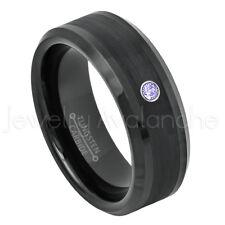 Beveled Tungsten Ring 0.07ct Mens Tanzanite Ring, December Birthstone Ring #663