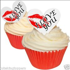12 PRE CUT EDIBLE RICE WAFER CARD I LOVE YOU VALENTINE HEART CUPCAKE TOPPERS