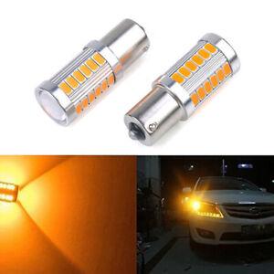 2x BA15S 1156 5630 33SMD LED Bulb Car Backup Reverse Turn Signal Light Yellow RS