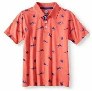 Wonder Nation Boys Short Sleeve Polo Shirt Size Large (10-12) Coral Octopus