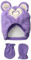 Wippette Baby Girls' Sherpa Heart Hat Mitten Set, Purple Infant