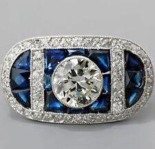 Certified 2.85CT White & Blue Diamond Art Deco Engagement Ring in 14K white Gold