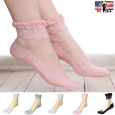 1 pair Women Lace Ruffle Frill Sheer Transparent Silk Elastic Mesh Ankle Socks