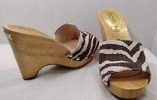 NEW MIchael Kors 8 M Brown Beige Zebra Canvas Gold Stud Open Toe Wooden Wedges