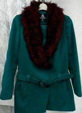 ( Ref 909 ) Atmosphere - Size 14 - Green Fur Collar Long Sleeve Long Jacket Coat