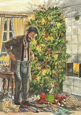 Postkarte: Nordqvist - Pettersson und Findus bei der Weihnachtsbescherung