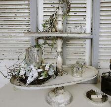 Etagere Metall Creme Patina Nostalgie Shabby Vintage Oval Deko Landhaus Brocante