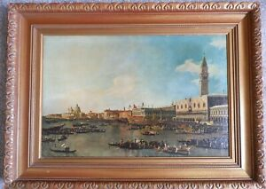 Fabulous Framed Fine Art Reproduction on Canvas Canaletto Venice Canal Painting