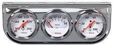 "Bosch Style Line 2"" Triple Gauge Kit Water Temperature Voltmeter Oil Pressure"