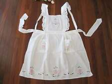 Beautiful Pink Rose Embroidery Cutwork Button White Cotton Apron Clearance