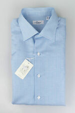New BELVEST Blue Striped Linen Blend Dress Shirt Size 40 EU 15.75 US $395
