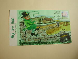 U.S. F.D.C. Collins St. Patricks Day 1995 Cover- Flag over Field