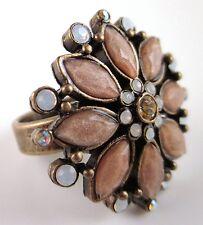 £30 Art Deco Gold Peach Orange Flower Adjustable Ring Swarovski Elements Crystal