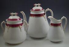 c.1870 HAVILAND OLD WEDDING BAND TEAPOT, BISCUIT JAR PITCHER SET ROPE RED GOLD