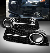 09-12 AUDI A4 B8 FRONT BUMPER FOG LIGHT LAMP GRILLE COVER SET BLACK S-LINE SYTLE