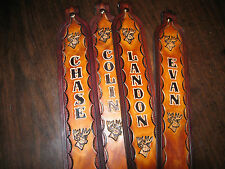 LEATHER RIFLE SLING CUSTOM MADE WITH (YOUR NAME)  AND DEERHEAD TAN & BROWN