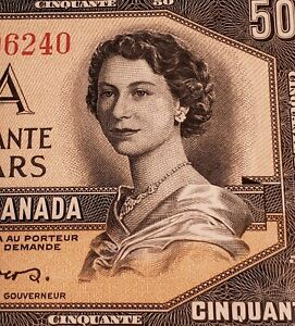 1954 Canada $50. DEVIL FACE Banknote. PMG Verified. EXCEPTIONAL PAPER QUALITY.