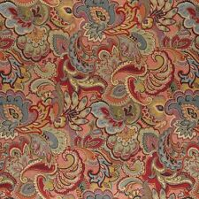 A0025B Green Blue Red Gold Abstract Floral Upholstery Fabric By The Yard