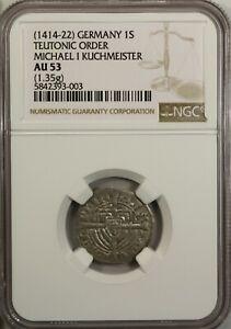 Germany Poland  Schilling 1414  NGC AU 53 Teutonic Order Michael I Kuchmeister