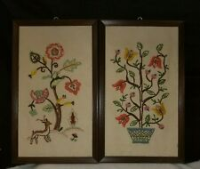 Vintage framed crewel needlework of floral Jacobean design (b8)