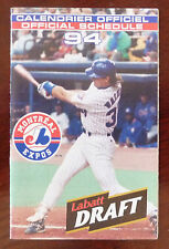 1994 MLB Montreal Expos Official Schedule / '94 Season Full Calendar