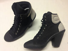 NewLook Womens Black Canvas Winter Block Lace Up Ankle Boots New SIze 7 UK 7 40