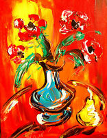 FLORAL PEAR ARTWORK Large Abstract Modern Original Oil Painting VYO9Y