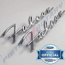 FALCON Rear Quarter Badges x2 (PAIR) Chrome, New for FORD XK XL XM Deluxe Script