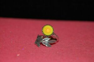 Leaf Wrap Mood Ring--Sterling Silver Plated--10mm--(#A4K6)