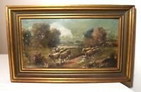 antique 1850s original signed Andrew Hunt landscape sheep grazing oil painting