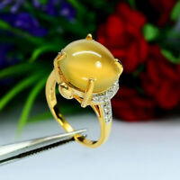 NATURAL 12 X 14 mm. YELLOW OPAL & WHITE ZIRCON CAMBODIA RING 925 STERLING SILVER
