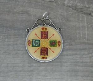 Vintage English Sterling Silver Enamel George V 1922 Florin Coin Pendant