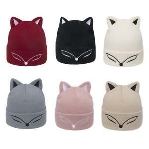 Unisex Cute Animal Eyes Embroidery Beanie Hat Cat Ears Winter Knit Ski Skull Cap