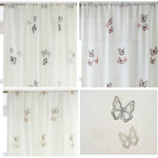 Butterfly Embroidered Voile Single Panel - White/Silver, Natural,Black & Red