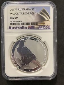 2014 P Australia S$1 wedge tailed eagle NGC MS 69 silver coin